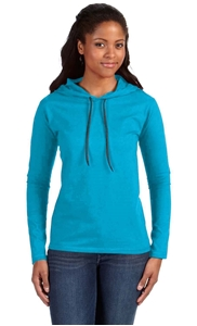 Picture of LADIES' LIGHTWEIGHT HOODED T-SHIRT